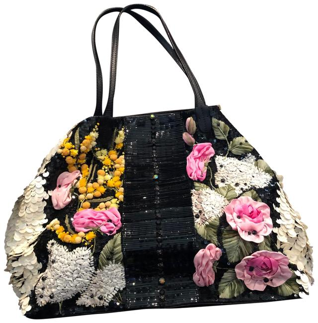 Item - Garavani Rare Limited Edition Embellished Multi Colored Of Soft Black Leather Delicate Silk Flowers In Pink White Yellow and Green Leaves. Creamy White Sequins Tote
