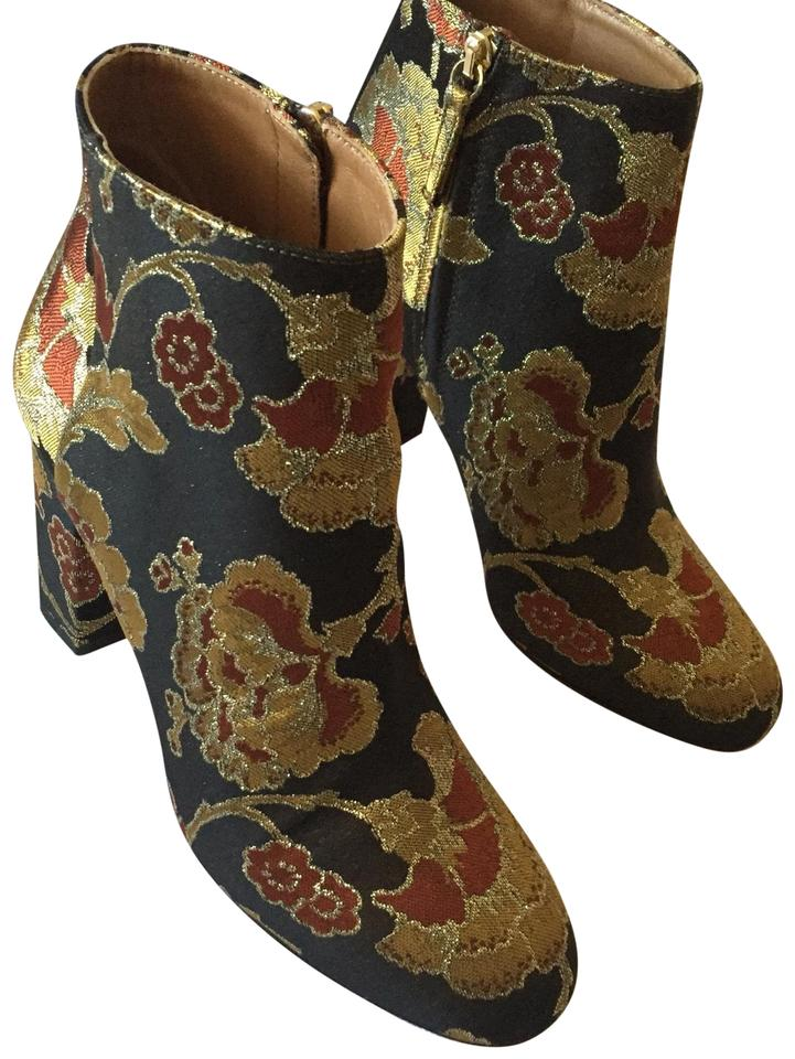 100% quality lace up in discount shop Aquazzura Black Gold Floral Jacquard. Brooklyn Oriental Rose Ankle  Boots/Booties Size EU 37 (Approx. US 7) Regular (M, B) 44% off retail