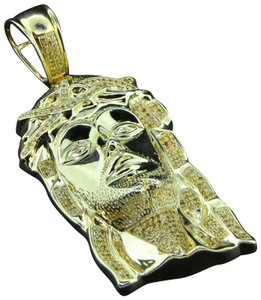 Jewelry For Less Yellow Diamond Jesus Face Pendant Sterling Silver Yellow Charm