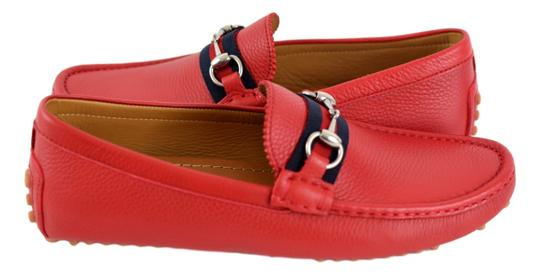 Gucci Red 322741 Men's Web Loafers Us 8.5 Eu 7.5 Shoes