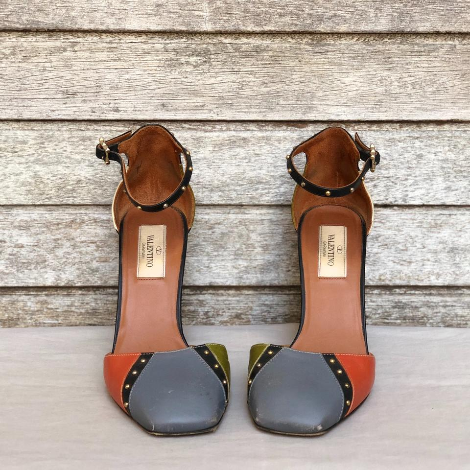 6b330010128 Valentino Colorblock Dotcom Patchwork Leather Ankle Strap D orsay Pumps  Size EU 37 (Approx. US 7) Regular (M