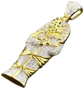 Jewelry For Less Diamond Pharaoh King Tut Mummy Pendant Sterling Silver Charm 0.65 Ct.