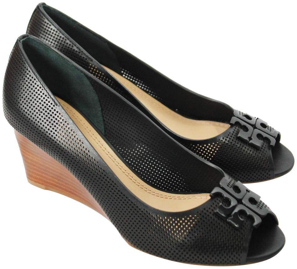 a656f01272bd Tory Burch Black Lowell 65mm Perforated Leather Open Toe Wedges. Size  US  8.5 Regular (M ...