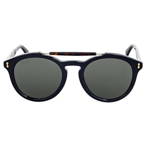 Gucci Round Dark Havana Grey Crystal Unisex Sunglasses