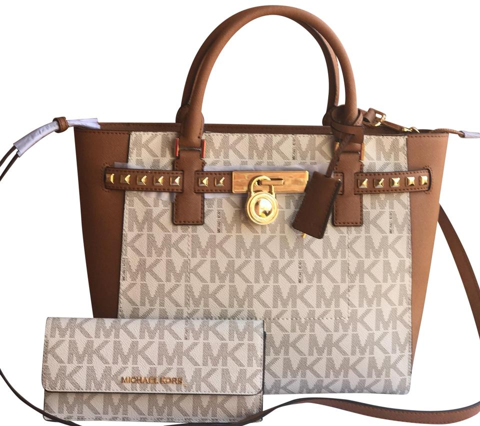 47b278d4f27c Michael Kors Hamilton Travelers Handbag + Wallet Set Vanilla and Acorn Pvc  Saffiano Leather Satchel