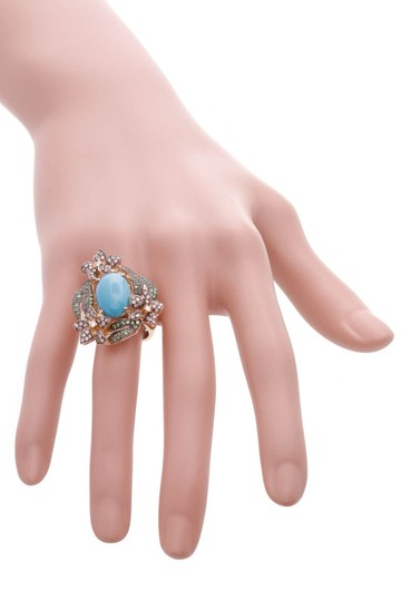 Fine Jewelry 14K Yellow Gold Turquoise & Diamond Floral Ring