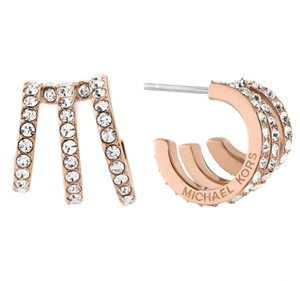 Michael Kors Michael Kors Modern Brilliance Crystal Pave Huggie Earrings Rose Gold