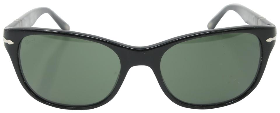 11a7cdd864 Persol Black Signature Frame Crystal Polarized Green Lenses 3020-s  Sunglasses