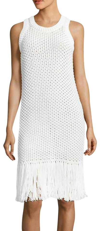 2226218044b MICHAEL Michael Kors White Knit Fringe Mid-length Short Casual Dress ...