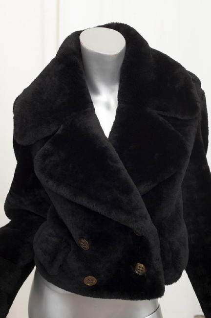 Burberry Prorsum Shearling Fur Cropped Coat Military Jacket