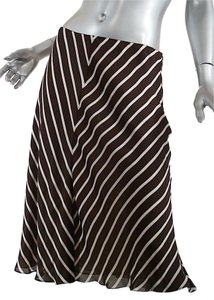 Ralph Lauren Collection A-line Striped Silk Label Skirt Brown