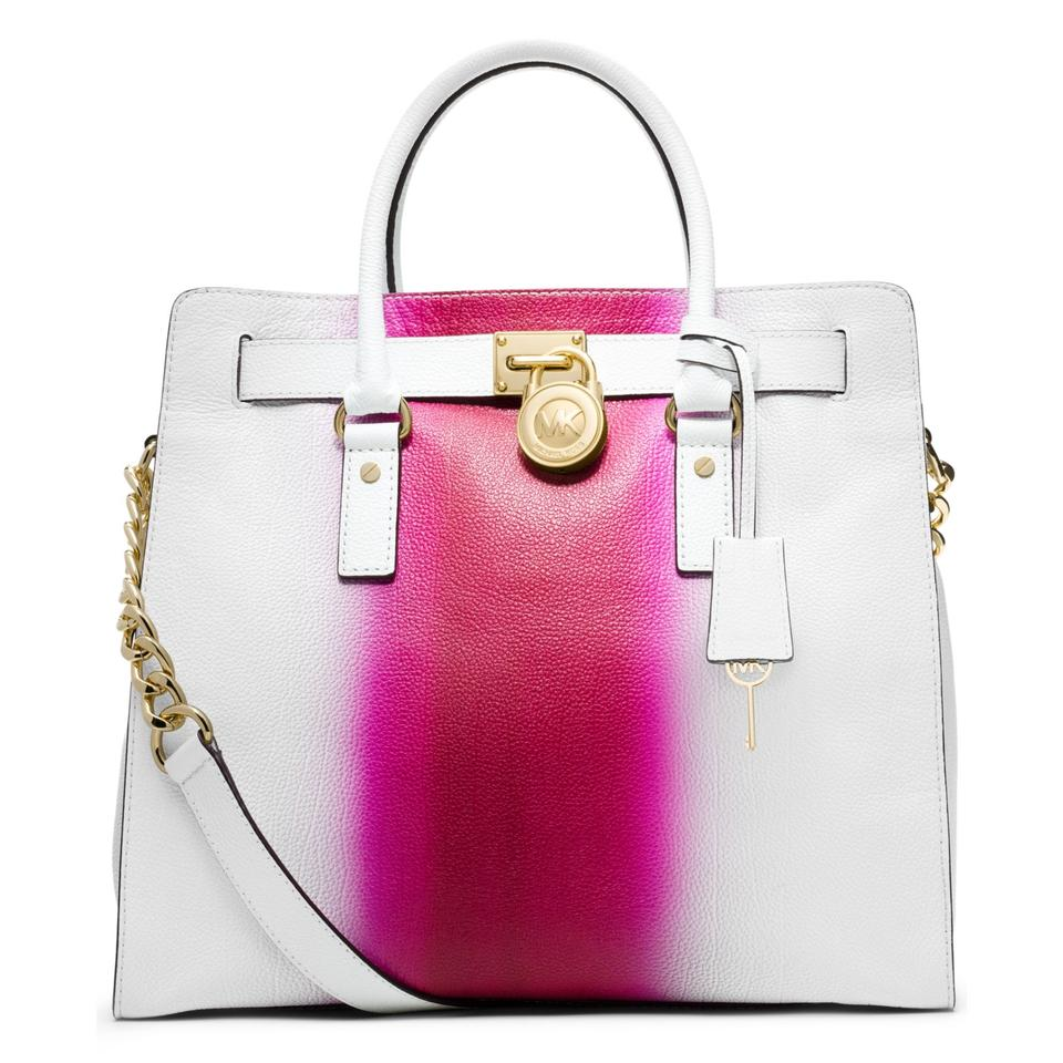 d49dfd9967ef Michael Kors Soft Satchel North South Large Convertible Tote in Fuchsia Hot  Pink and White Image ...