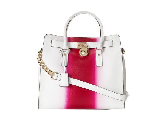 Michael Kors Soft Satchel North South Large Convertible Tote in Fuchsia Hot Pink and White