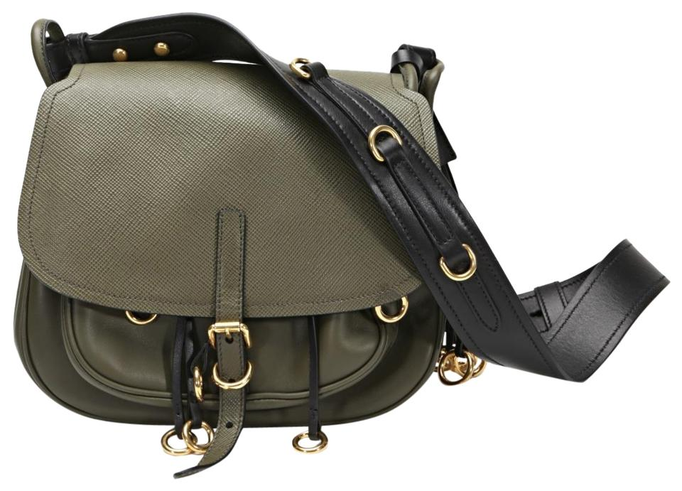 d61f28cdf8b8 Prada Corsaire Military-green Purse Army Green Saffiano Leather ...