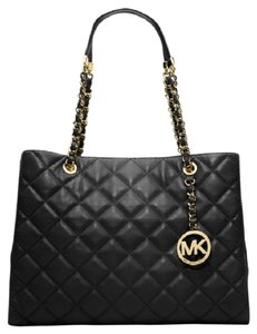 bfef3ce4c1e1 Added to Shopping Bag. Michael Kors Satchel Shoulder Quilt Lamb Soft Tote  in Black. Michael Kors Susannah Large Quilted Satchel Black Leather Tote