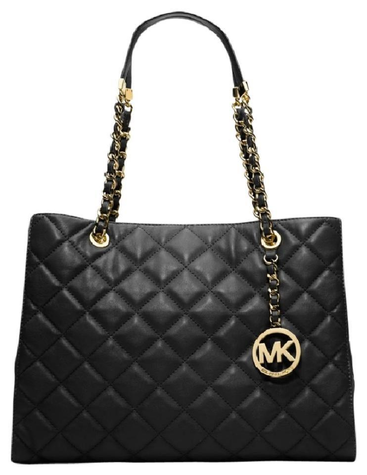 c6d8eb467fb8 Michael Kors Susannah Large Quilted Satchel Black Leather Tote - Tradesy