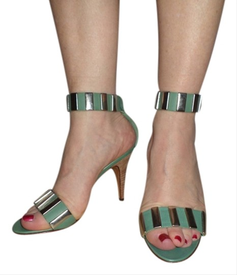 Julianelli Vintage Italy Italian Leather Velcro Turquoise Sandals