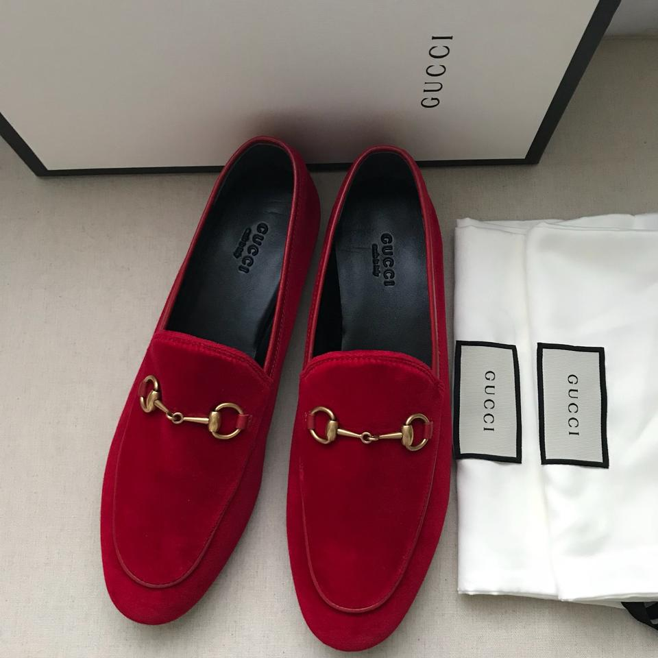 1a7004e15ef Gucci Red Horsebit Velvet New Jordaan Loafers Flats Size US 8.5 ...