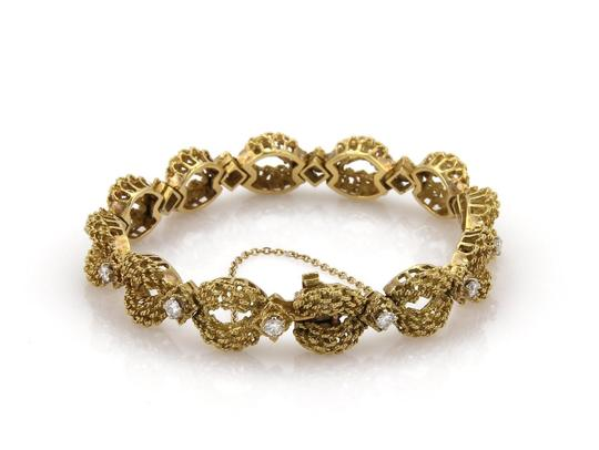 Other 18k Yellow Gold 1.45ct Diamond Open Textured Floral Link Bracelet