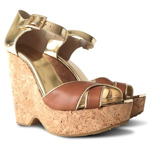 Jimmy Choo Metallic Gold Open Toe Ankle Strap Brown Wedges