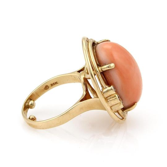 Other Vintage Diamond Large Cabochon Coral 14k Yellow Gold Cocktail Ring