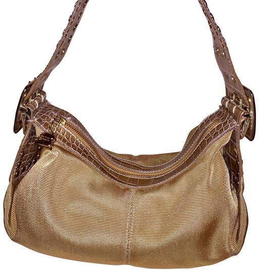 Preload https://img-static.tradesy.com/item/22901421/kathy-van-zeeland-bright-gold-with-brown-strap-60-cotton-and-40-poly-shoulder-bag-0-1-540-540.jpg