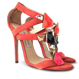 Jimmy Choo Suede Embellished Ankle Strap Open Toe Stiletto Red Sandals