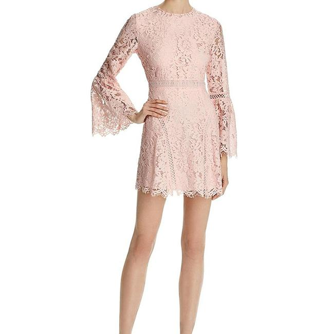 Do & Be Lace Overlay Bell Sleeve Blush Dress