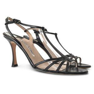Jimmy Choo Strappy Open Toe Leather Ankle Ankle Strap Black Sandals