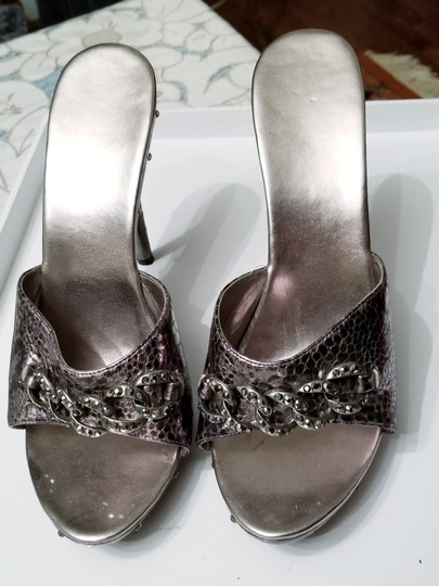 Other Rhinestones Embellished Studded Leather Silver Pewter Sandals