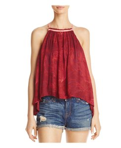 Free People Lace Up Sides Print Asymmetric Hem Loose Fit Top Red