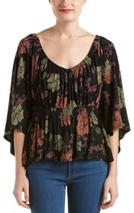 Free People Peasant T Strap Floral Print Loose Fit Ruched Waist Top Black