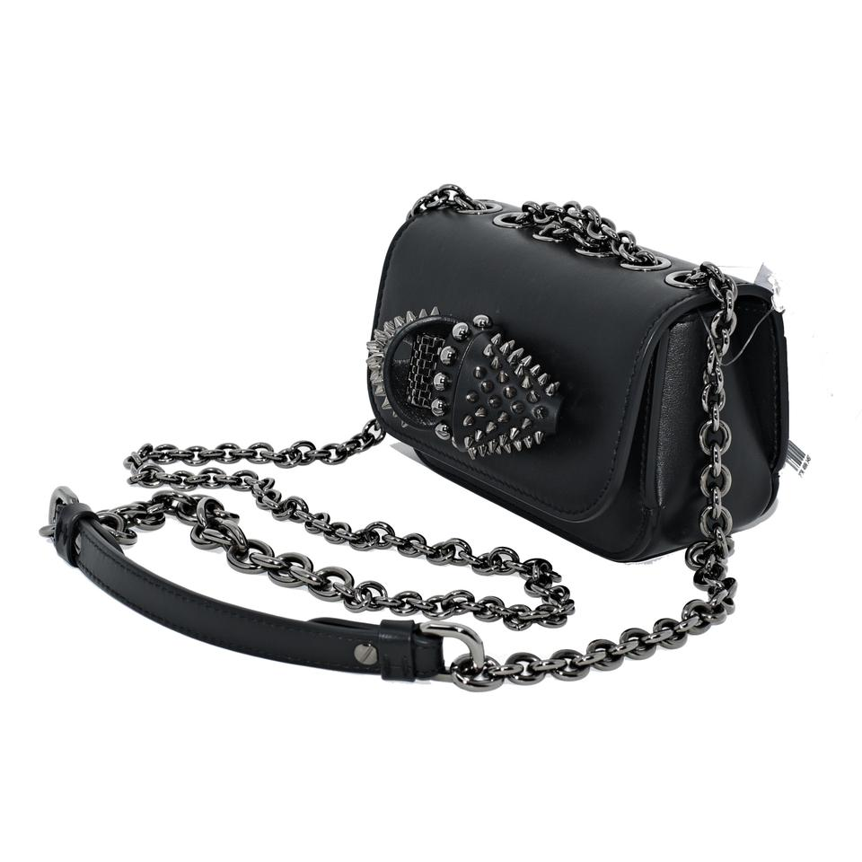 Calfskin Leather Charity Sweet Body Cross Black Spiked Bag Louboutin Christian Chain Baby Tq8ROw0