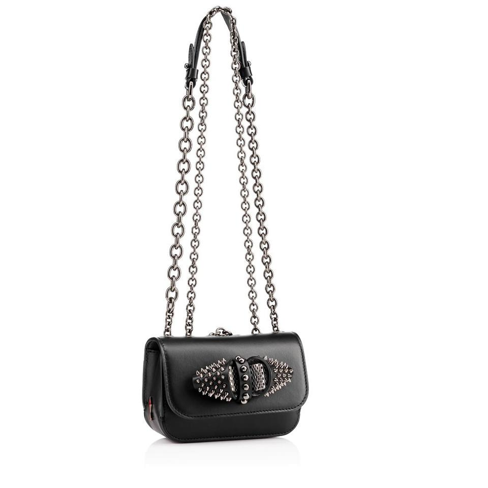 Cross Body Louboutin Spiked Chain Charity Sweet Christian Calfskin Leather Baby Bag Black Cw1qzZnZv