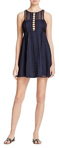 Free People short dress Navy Crochet Lace Mini Laser Cut Empire Waist on Tradesy