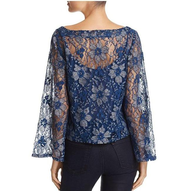 Aqua Lace Two Fer Boxy Fit Bell Sleeve Two Tone Top Blue