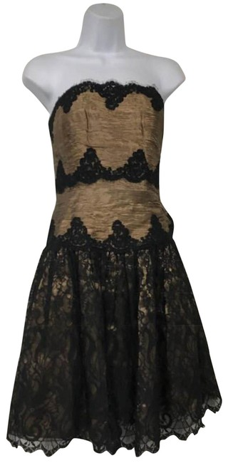 Item - Black/Brown By Neiman Marcus Strapless Lace and Lame Cocktail Short Night Out Dress Size 8 (M)