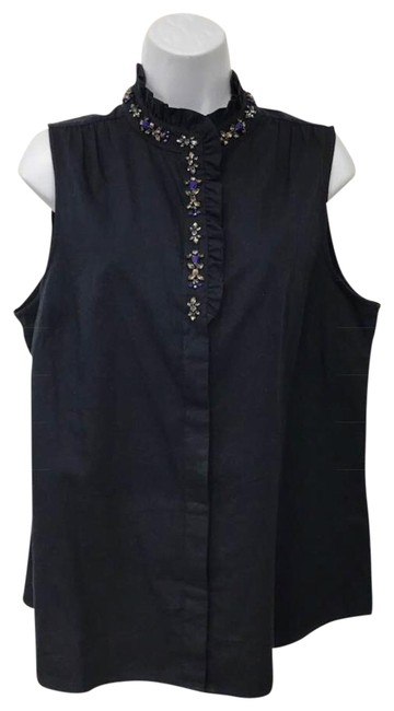 Preload https://img-static.tradesy.com/item/22901732/jcrew-navy-sleeveless-embellished-neck-cotton-blouse-size-12-l-0-2-650-650.jpg