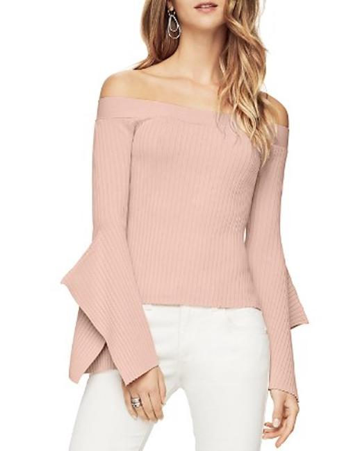 BCBGMAXAZRIA Off The Shoulder Bell Sleeve Ribbed Knit Color Top Gardenia