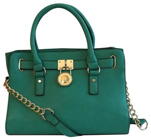 Michael Kors Leather Strap Options Logo Accent Padlock Inside Compartments Trendy Color Satchel in Palm Green