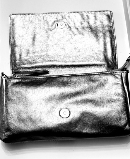 Other Faux Leather Embellishment Shoulder Silver/Pewter Clutch