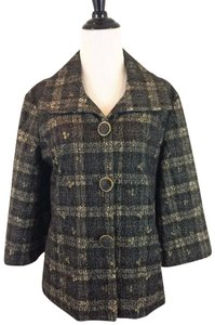 Chico's Lace Patchwork Size 1 Plaid Black Metallic Jacket