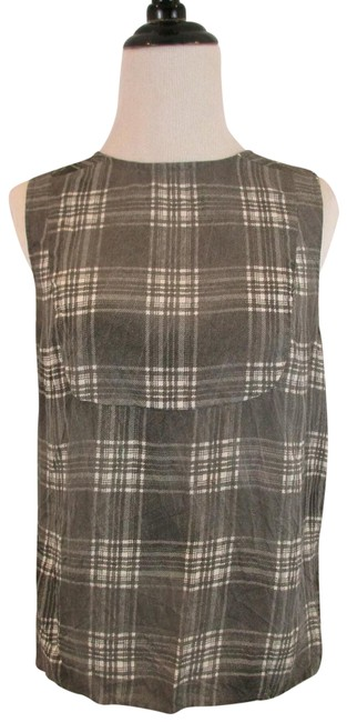 J Brand Striped Party Viscose Silk Small Vest Top Gray