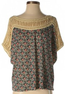 Free People Crochet Print Oversized Top