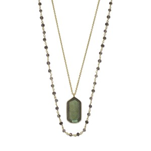 Sterling Silver 14 Karat Gold Plated Double Strand Iolite and Labradorite Necklace