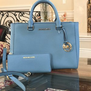 Michael Kors Kellen Summer Spring Leather Sky Satchel in pale blue