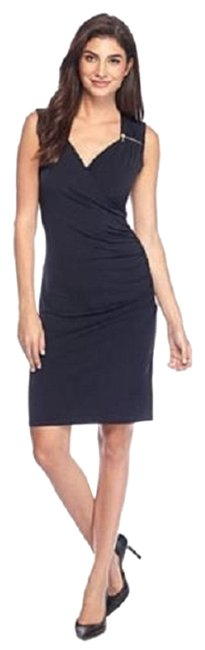 Item - Navy W Sweetheart Neck Sheath W/ Zippers Mid-length Night Out Dress Size 10 (M)