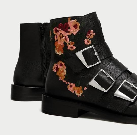 Zara Floral Floral Embroidery Embroidered Buckle Buckle black Boots