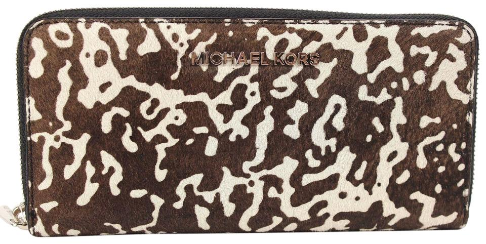 b376a7a23c06 Michael Kors Jet Set Travel Continental Wallet Haircalf Leopard Black Creme  Brown Image 0 ...
