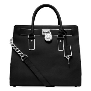 Michael Kors Saffiano Silver Satchel North South Convertible Tote in Black